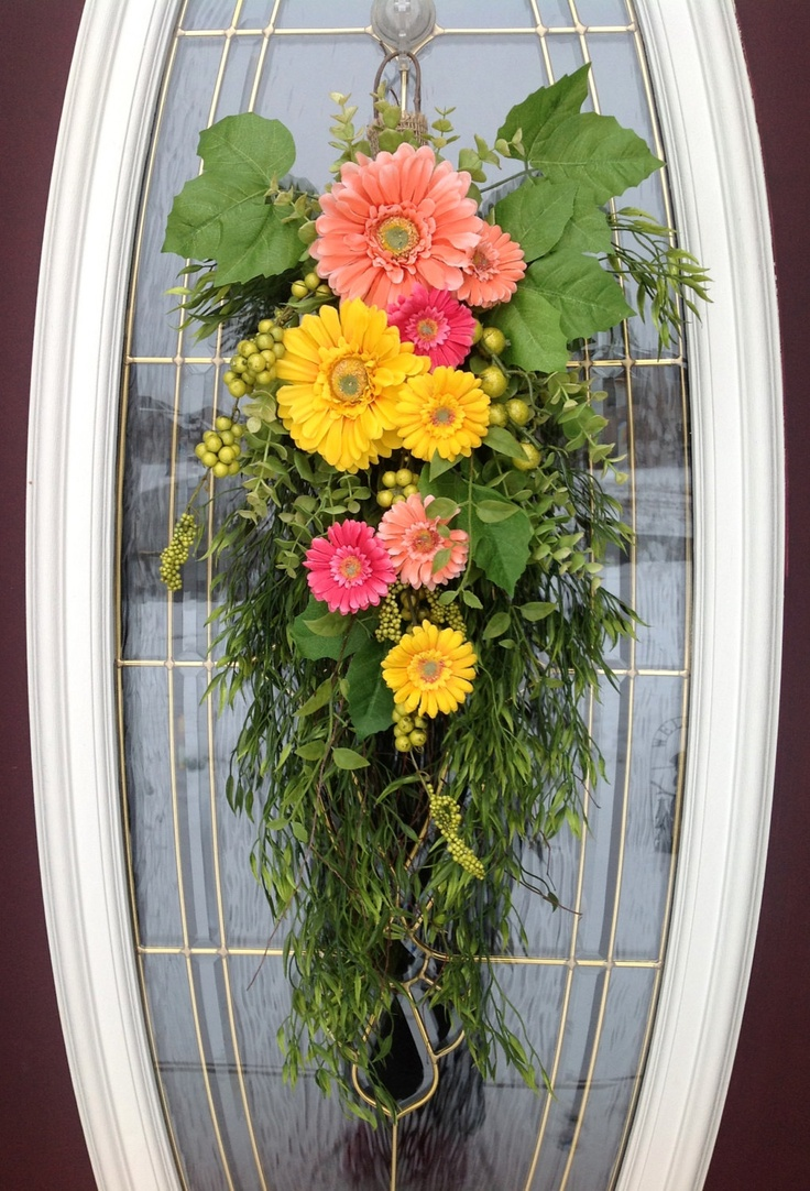 Spring wreath summer wreath teardrop door swag vertical Spring flower arrangements for front door