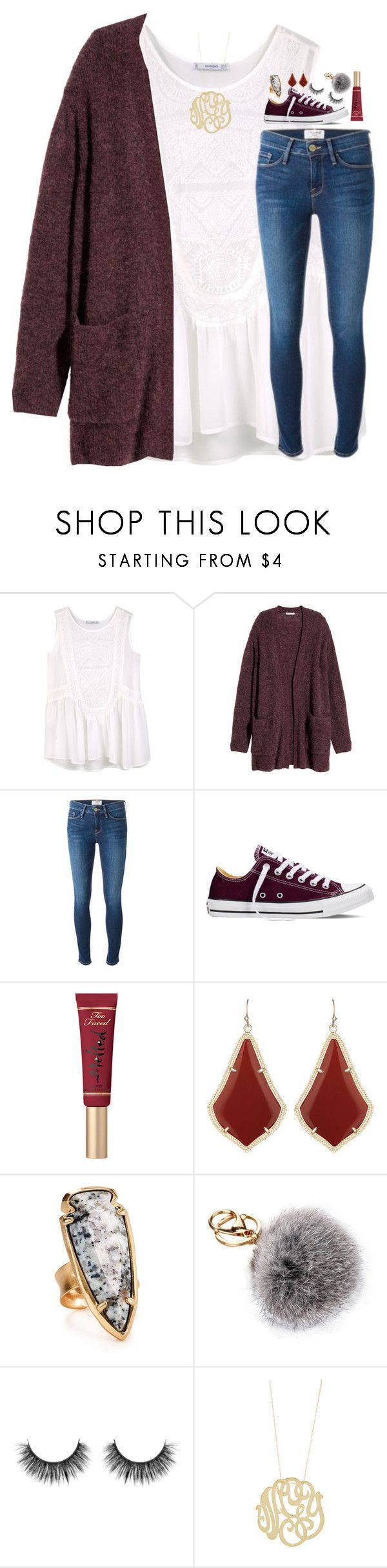 """""""santa is real and no one questions"""" by lindsaygreys ❤ liked on Polyvore featuring MANGO, H&M, Frame, Converse, Too Faced Cosmetics, Kendra Scott and Ginette NY"""