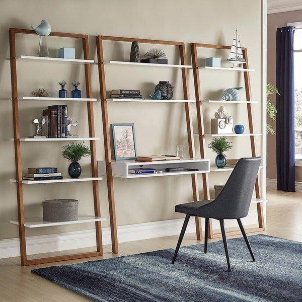 Ranell Leaning Desk With Ladder Shelves By Inspire Q Modern In 2020 Leaning Desk Furniture Deals Shelves