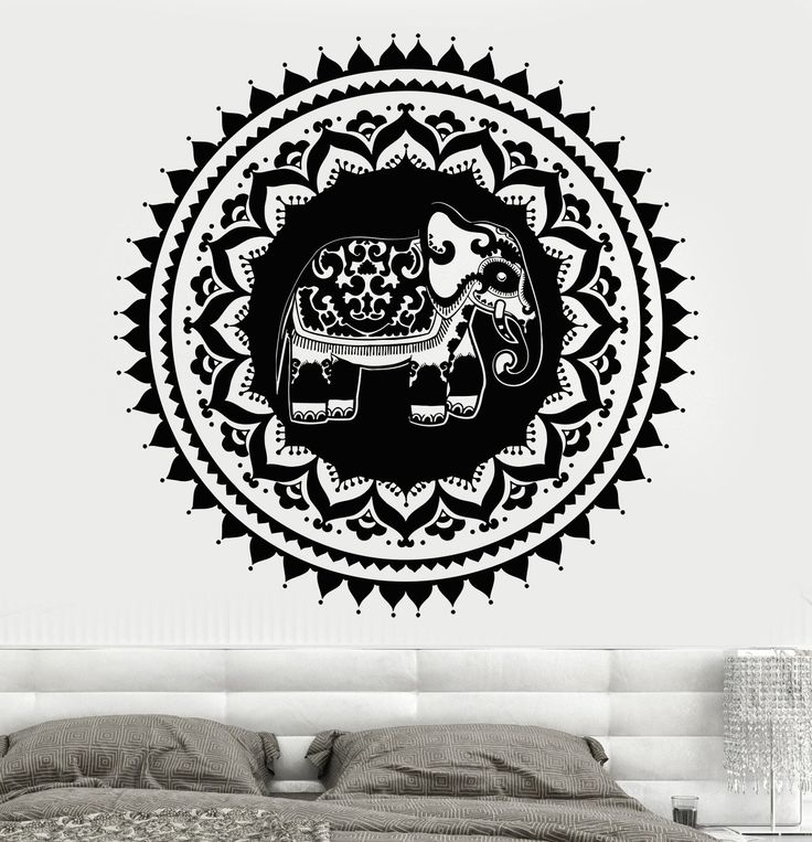 Vinyl Wall Decal Indian Elephant Circle Symbol Home Design Hinduism Stickers Unique Gift (761ig)