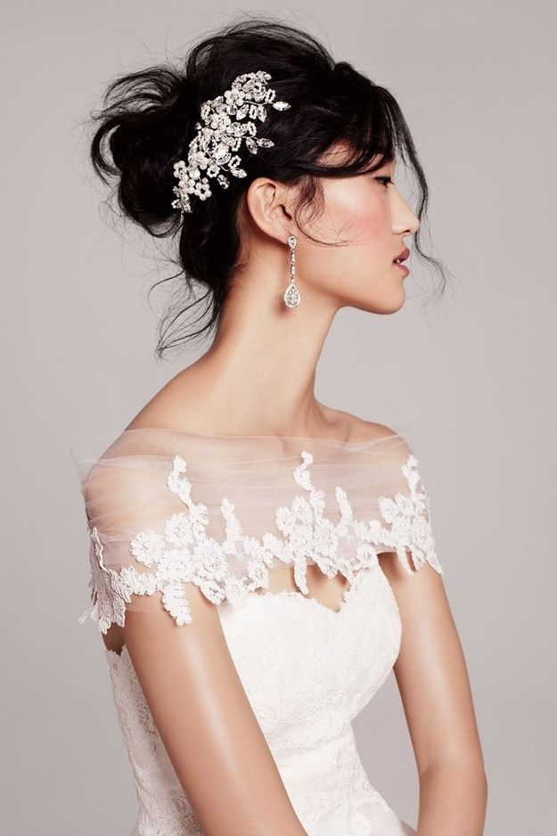50 Gorgeous Wedding Dress Details That Are Utterly To Die For: The way the chiffon delicately encases her shoulders.