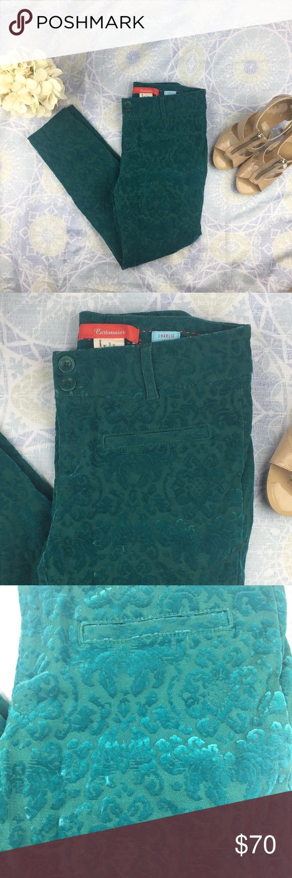 "Anthropologie Cartonnier Charlie Ankle Pant Excellent used condition.  Beautiful teal green with velvet brocade pattern texture.  The velvet has an eye catching sheen.  Double button and zipper closure.  Slit pockets on front and back.  98% cotton, 2% spandex.  Measurements: 26"" in seam, 29"" waist, 32"" hips Anthropologie Pants Ankle & Cropped"