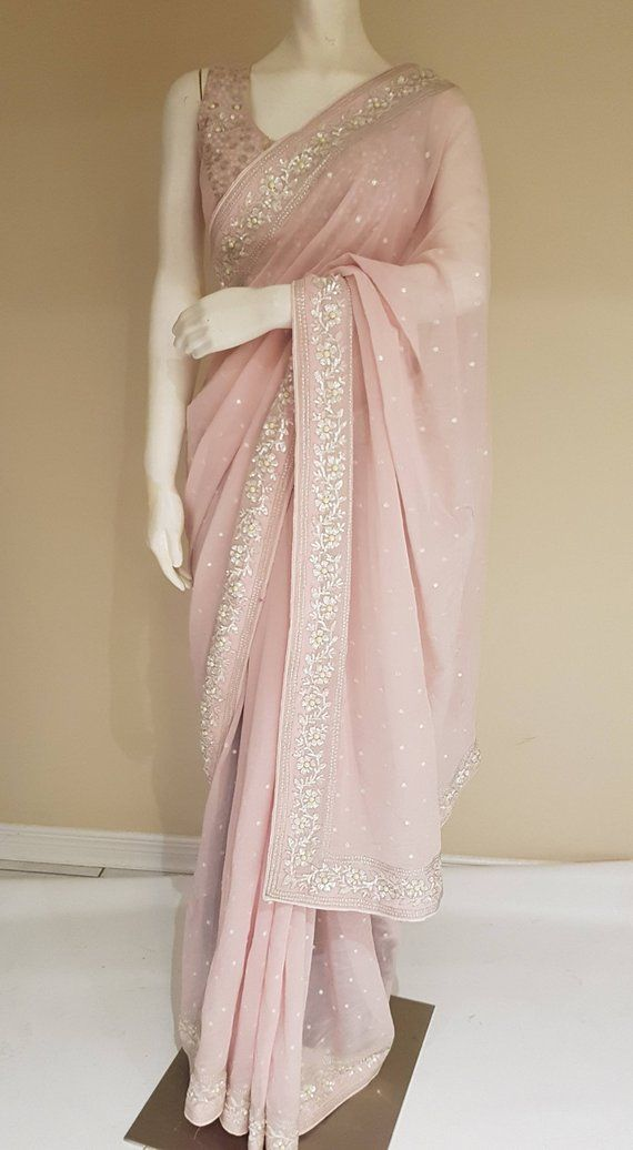 4acddbcb6d967c Light Peach Georgette saree with pearl work in 2019 | saree | Saree ...