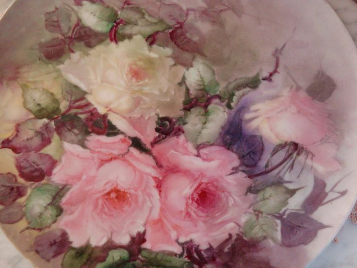 Limoges France Antique Hand Painted Porcelain Plaque Tray Roses from theverybest on Ruby Lane
