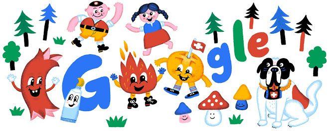 GOOGLE Doodle : Swiss National Day by guest artist Jürg Lindenberger.  - Jour de la fête nationale Suisse par l'artiste invité Jürg Lindenberger.