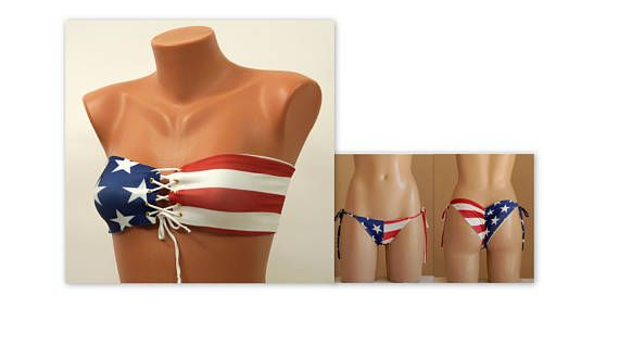 American Flag Bandeau/USA Flag lace up bandeau bikini top and cheeky bottoms/Swimsuits women/Plus size swimwear/4th July/Bathing suits