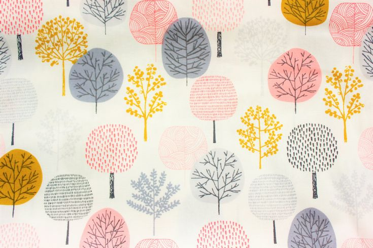 Cloud 9, Cloud 9 Fabric, First Light, Forest Pink, Eloise Renouf, Organic Fabric, Cotton Poplin, White, Pink, Sewing supplies, Half Metre by TwoChubbyRabbits on Etsy