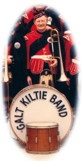 "My Dad, James Lawrence Clarke, First Trombone. He played in the Kilties from the late '40s till the late '90s. He was awarded a plaque for his years of service and proudly wore his ""Life"" Kiltie pin in his lapel."