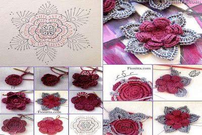 16 Esquemas de flores en cuadritos para proyectos | Tejidos a Crochet
