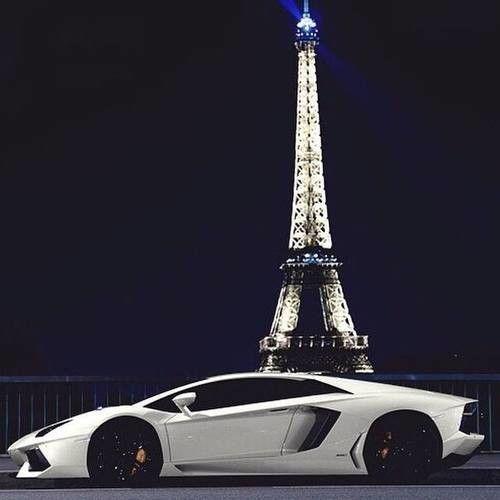 Lamborghini near the Eiffel Tower in Paris