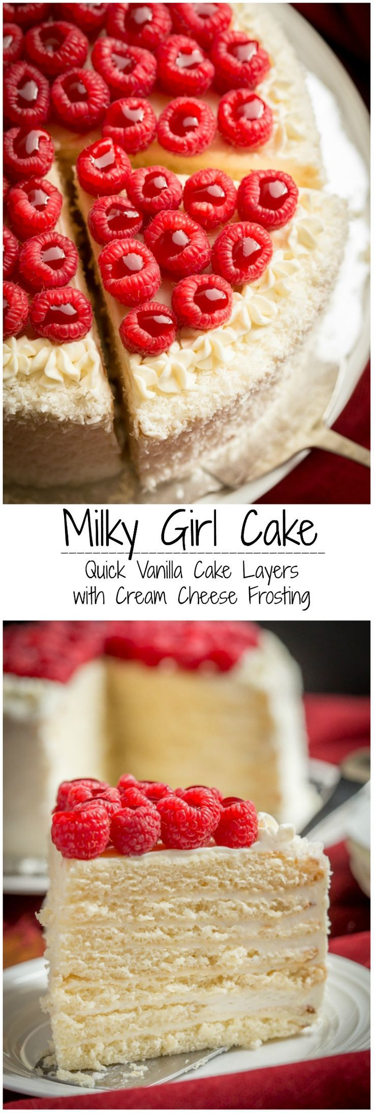 Quick and easy, with tender sweetened condensed milk cake layers, frosted with Vanilla Cream Cheese Frosting - and all made in under 1 hour! | By Let the Baking Begin!