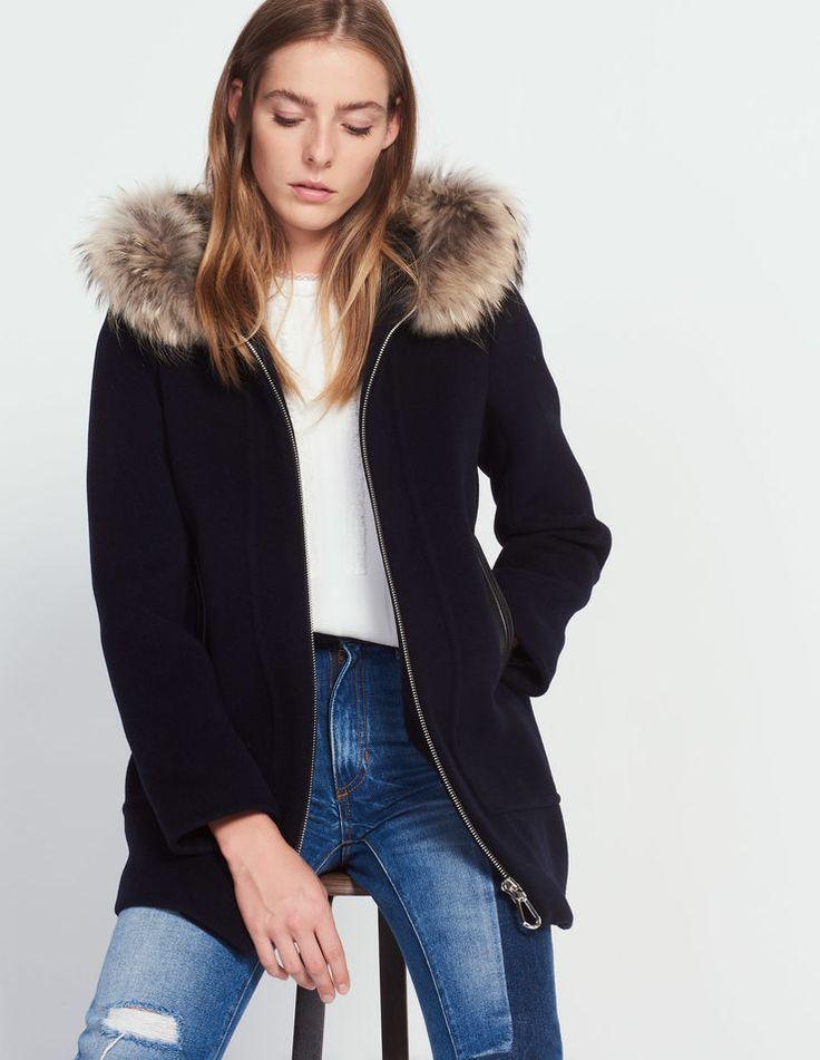 Manteau en laine mélangée détails cuir - Manteaux - Sandro Paris