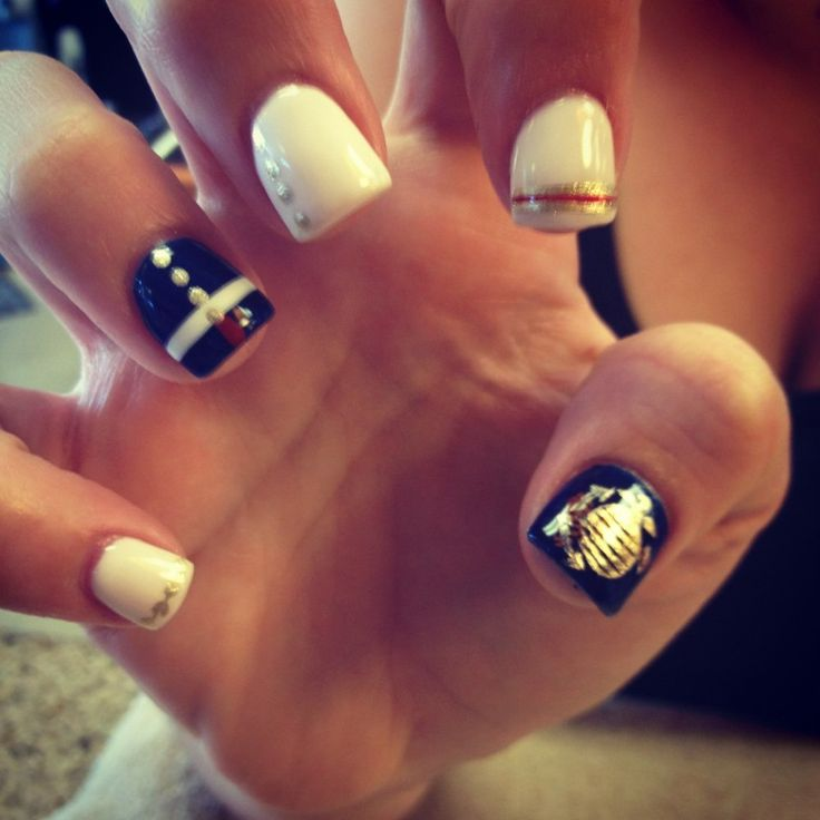 Marine corp nails by Michelle @pcdr1968 this would be so cool to do for Dylan's graduation!