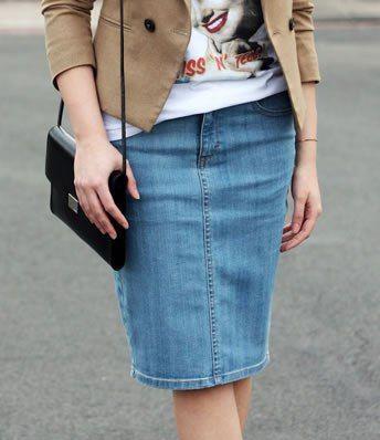 Patrón para hacer una falda vaquera tradicional, si no te gusta los jeans puedes utilizar el patrón también con otros tejidos. Tallas desde la 36 hasta la 56.