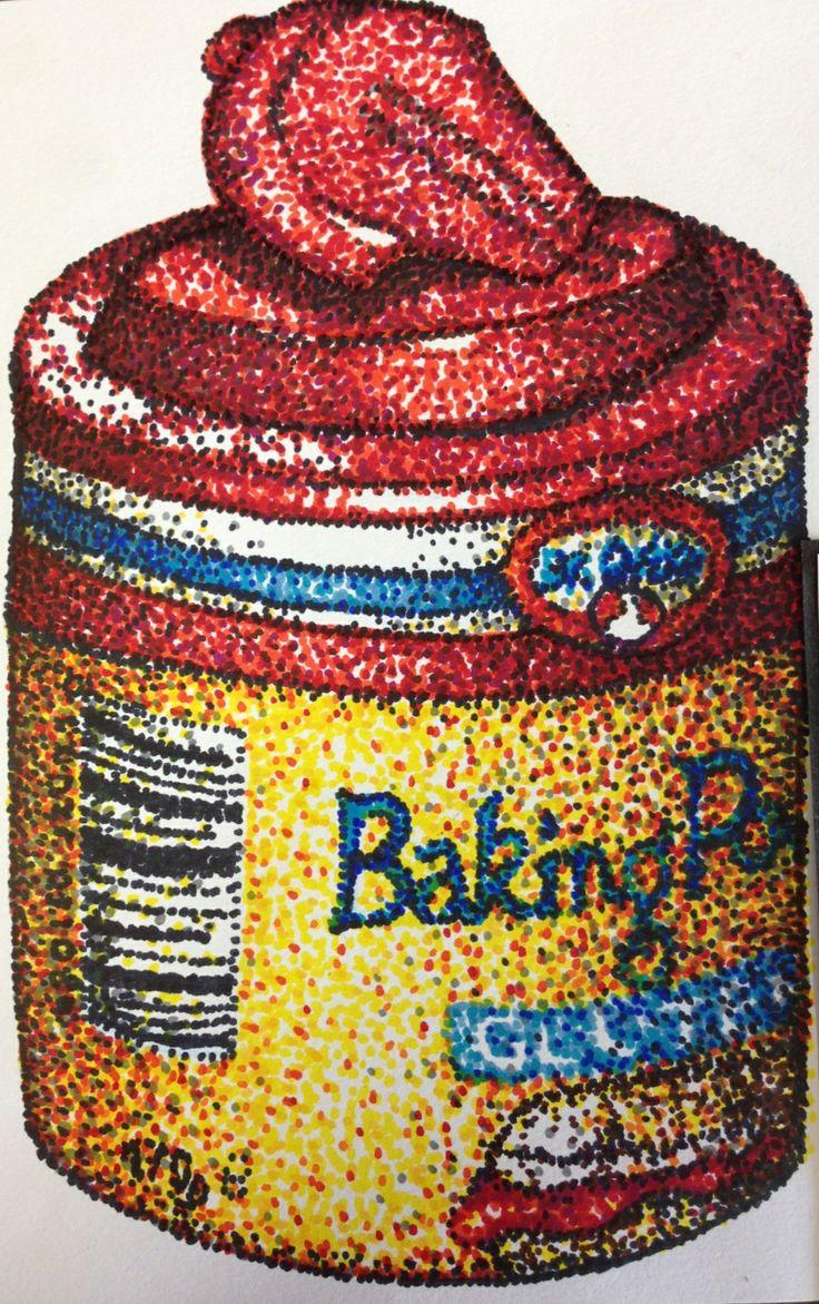 S5 investigation piece, coloured felt tip pen pointillist drawing