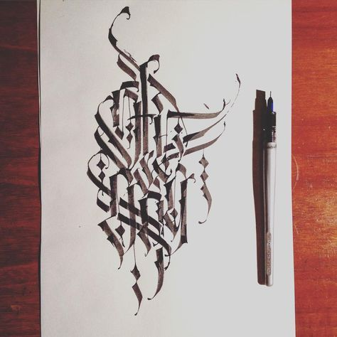 """""""Strong! #architaste #calligraphy #calligritype #lettering #pilotparallelpen #parallelpen #gothic #graphicdesign #goodtype #typespire #typography…"""""""