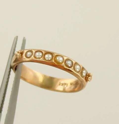14k Rose Gold Antique Victorian Pearl Wedding Band Ring