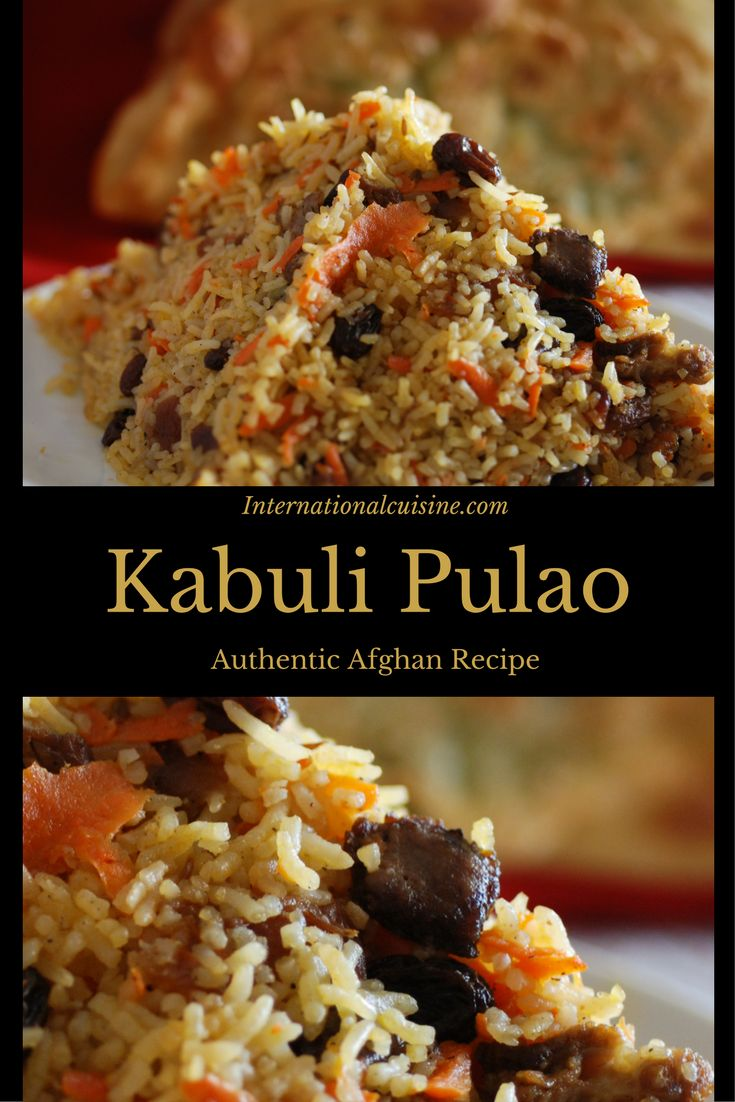 Kabuli pulao is an authentic recipe from Afghanistan made with rice, lamb, carrots, raisins and apricots plus an array of spices. Lovely!