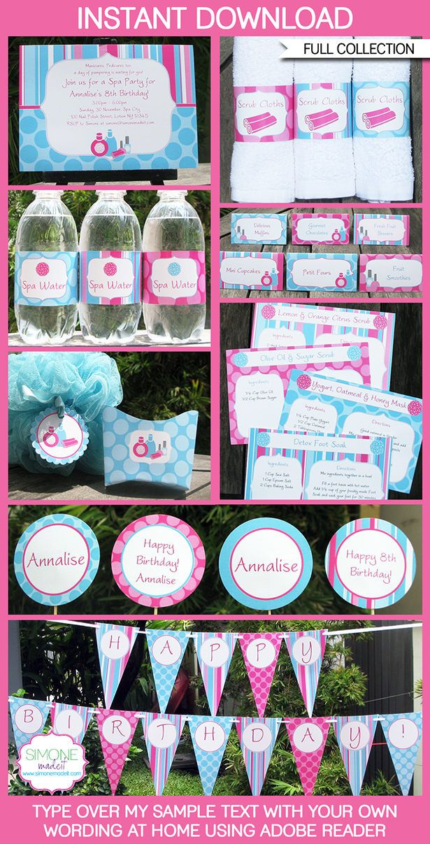 Instantly download my Spa Party Printables, Invitations & Decorations! Personalize the templates easily at home & get your Spa Birthday Party started now!