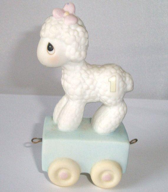 1985 Precious Moments Lamb, 1st Year Birthday Lamb, Precious Moments Birthday Train Lamb on Etsy, $11.95