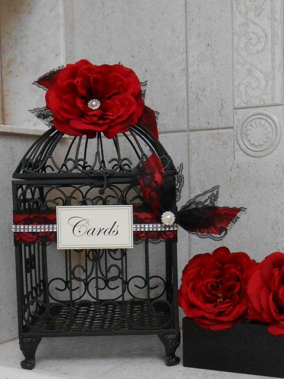 Rosso e nero Wedding Birdcage titolare della carta / di ThoseDays