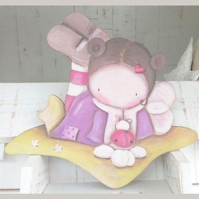 Siluetas madera infantil efecto pintado a mano - HADA CON MARIQUITA