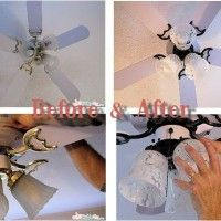 Home DIY Ceiling Fan Makeover - Inexpensive, quick and easy in just a few hours and under $50 for a new look, update, modernize, and improve