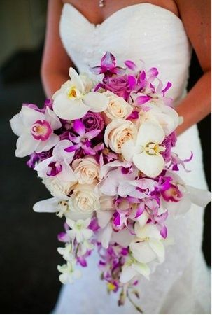 The perfect cascade bouquet ive been searching for... Stunning cascades of orchids and lilies... Just need it in corals pinks peaches and white