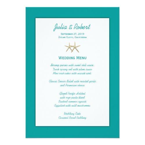 Tropical Wedding Menu Beach Blue & White Starfish Wedding Menu Template Card