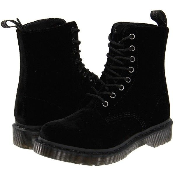 Dr. Martens Page (Black Ze You Velvet) Women's Boots ($80) ❤ liked on Polyvore featuring shoes, boots, black, botas, dr martens shoes, black laced boots, velvet boots, laced boots and slip resistant shoes