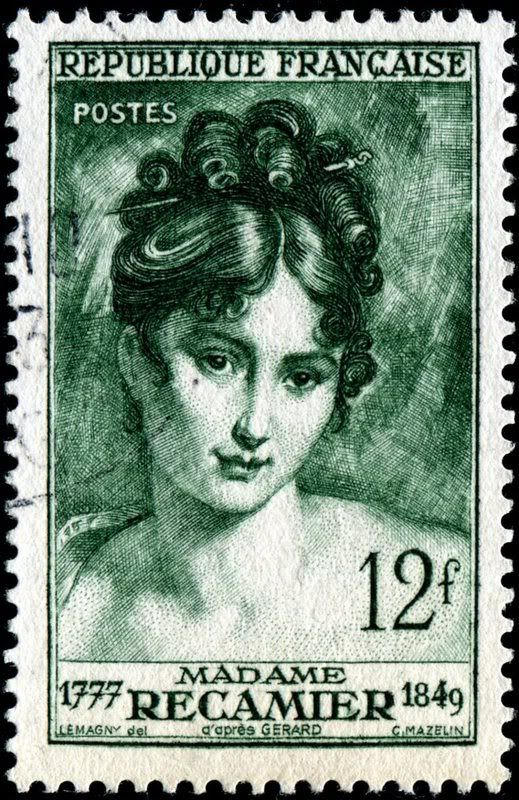Jeanne-Françoise Julie Adélaïde Bernard Récamier (1777-1849), known as Juliette, was a French society leader whose salon drew Parisians from the leading literary and political circles of the early 19th century. Here is an image of a stamp depicting Madame Récamier, designed by Paul-Pierre Lemagny (1905-1977) after a portrait (1802) by French painter François Pascal Simon, Baron Gérard (1770-1837), engraved by Charles Mazelin, and issued by France on December 7, 1950, Scott No. 641, Y No…