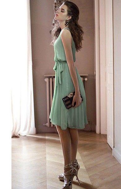 Sleeveless Chiffon Vintage Style Dress Green