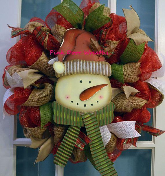 Limited quantities!!  Made to Order - Wreath Door CHRISTMAS red burlap green SNOWMAN metal white mesh ribbons by #PinkDoorWreaths