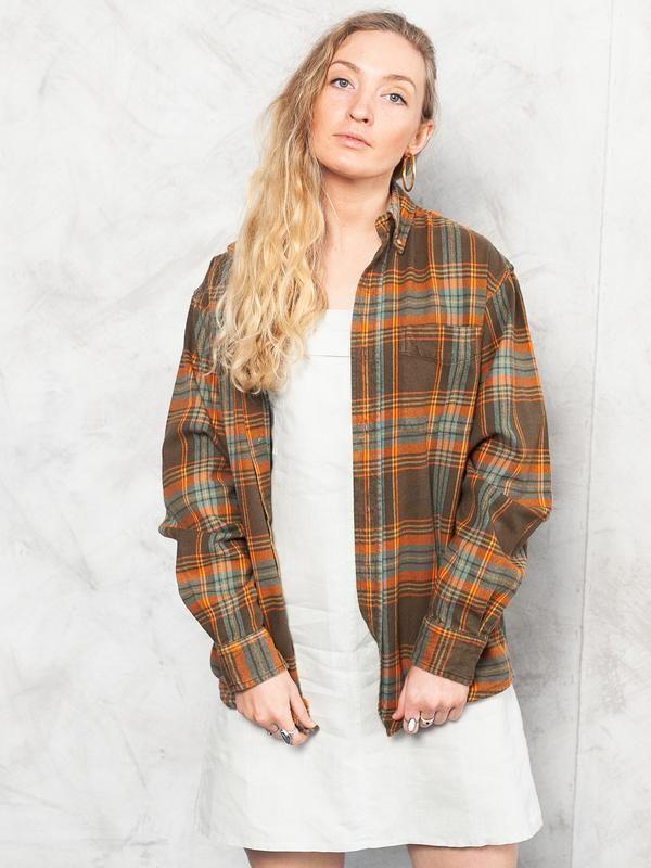 UNISEX Plaid Flannel Vintage Shirt men/'s XS women/'s S to M