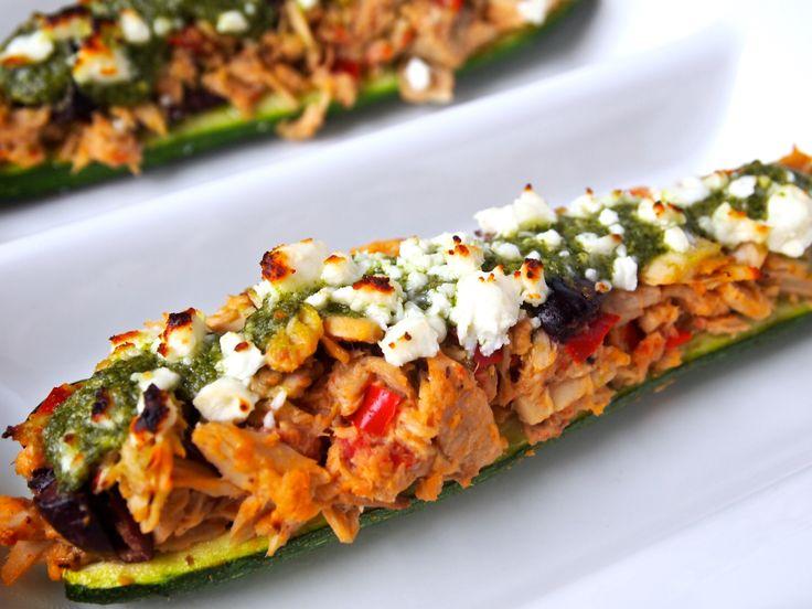 Grilled Mediterranean Zucchini Boats-Healthy Helper no olives please