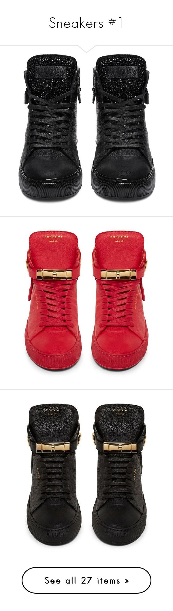 """Sneakers #1"" by hipster9891 ❤ liked on Polyvore featuring shoes, sneakers, buscemi sneakers, high-top sneakers, hi tops, black hi tops, kohl shoes, red shoes, red sneakers and red trainers"