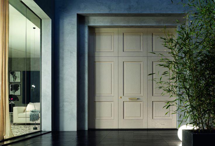 Modern entry door in brushed oak