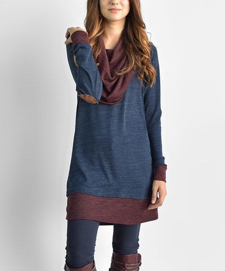 On-trend color blocking combines with a draping neckline to define urban-chic style. Elbow patches accent this hip pick with a borrowed-from-the-boys vibe.