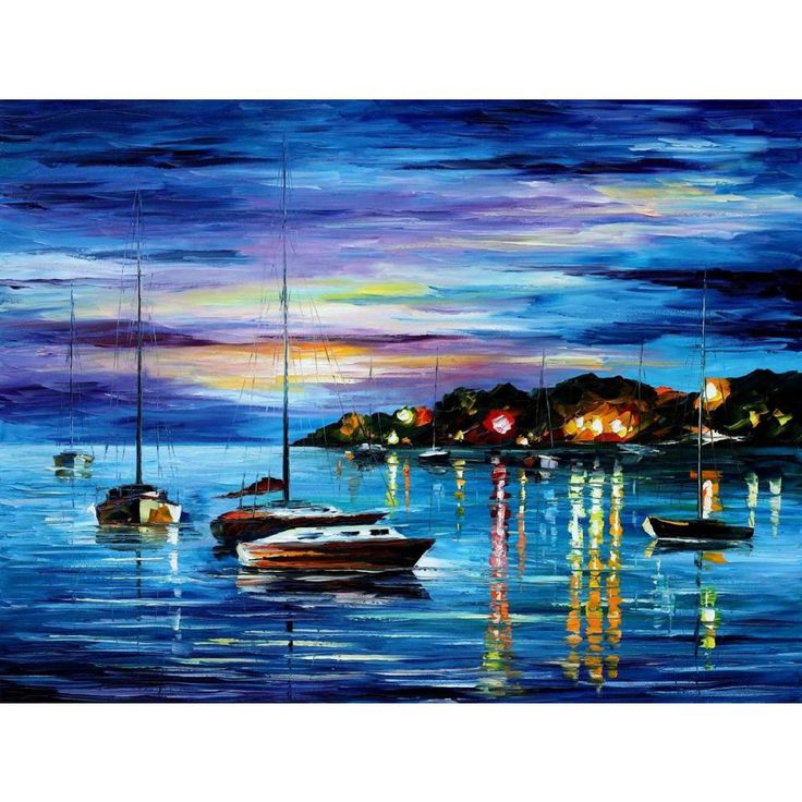 Modern Palette knife canvas oil painting landscape pictures mystery of the night art for home wall decoration