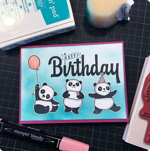 Blog hoppedie hop. Hop als een konijn (panda) door verschillende blog's.#stampinup #stampinup2018 #Stampin'Up! #Stampin'Up!2018 #cardmaking #diy #kaartenmaken #papercraft #partypandas