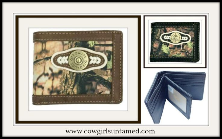 MENS COWBOY WALLET! GREAT GIFT! Mens Brown Short Camo 12 Gauge Bullet Mossy Wallet  #wallet #bullet #shotgun #bifold #camo #mossy #camoflauge #cowboy #western #canvas #leather #boutique #fashion #style #gift #wholesale #cowgirlsuntamed