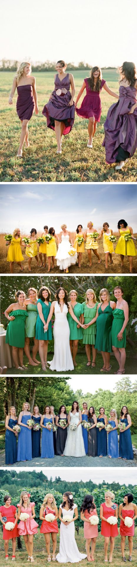 Different shades of 1 colour for bridesmaids. I love this!: Mismatched Bridesmaid Dresses, Ideas, Yellow Dresses Bridesmaid, Purple Long Bridesmaid Dresses, Mismatched Bridesmaid Green, Color Bridesmaid, Green Dress, Bridesmaids Very, Bridesmaid Color