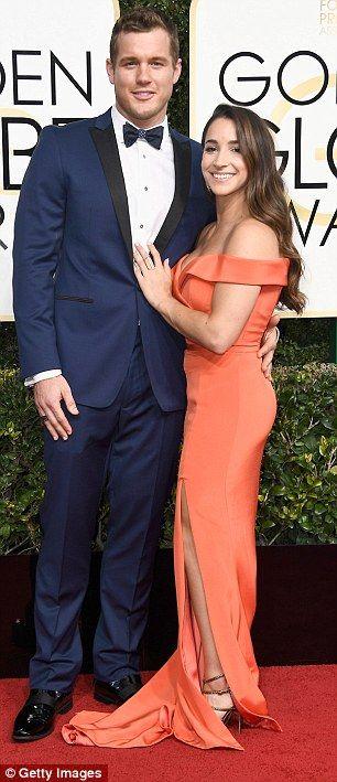 Golden Globes 2017: Olympic gymnast Aly Raisman cuddles boyfriend Colton Underwood | Daily Mail Online