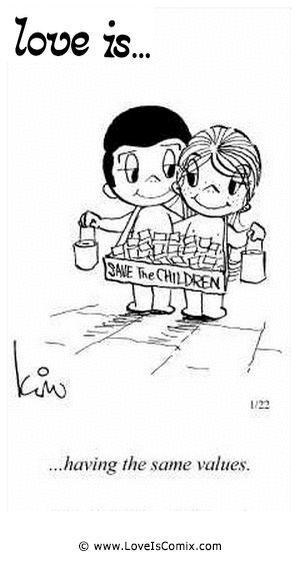 Love Is by Kim Casali Comic Archive Gallery | Love Is... having the same values.