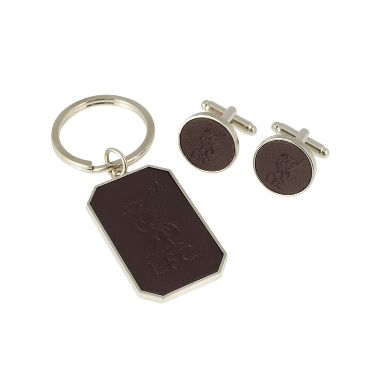 LFC Embroidered Leather Cufflink & Keyring Set | Badges & Keyrings | General | Souvenirs | Liverpool FC Official Store