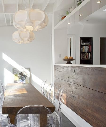 modern rustic dining room - love that planked hafl wal and the contrast with the dark wood and white walls.