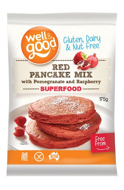 Buy red pancake mix with pomegranate and raspberry online from Well and Good. These pancakes taste great on their own , smothered in honey, ricotta, banana.