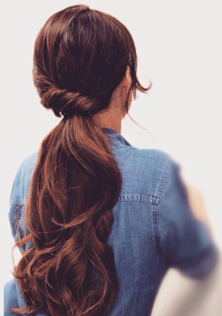 Partly twisted ponytail for long hair