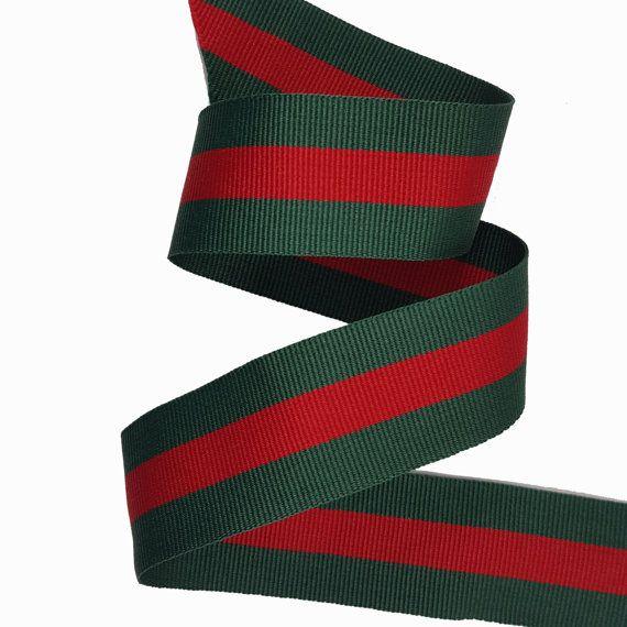 c5776cdfa2d 100 yard Green Red Striped Ribbon Trim