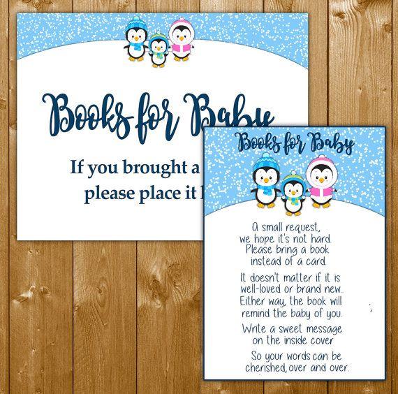 Penguin Books For Baby, Baby Shower Invitation Insert, Baby Shower Books  For Baby Boy